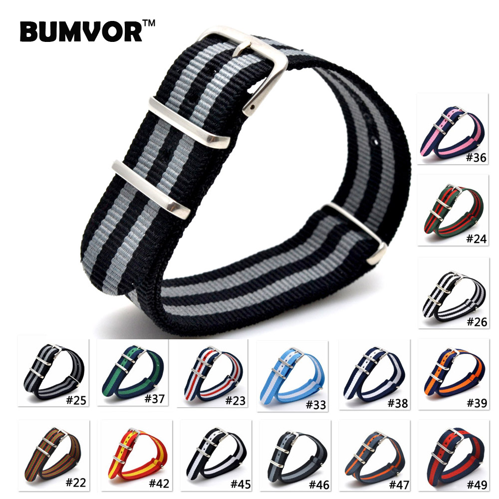 BUMVOR Hot Sale 22mm Multi Color Army Sports bracelet nato fabric Nylon watchband Watch Strap Accessories Bands Buckle belt
