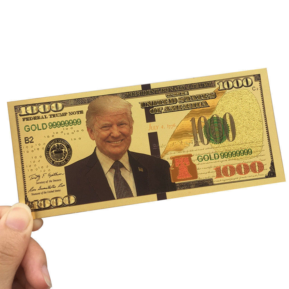10pcs Promotion US President Donald Trump New Colorized $1000 Dollar Bill Gold Foil Banknote Trump Commemorative Fake Money CA image