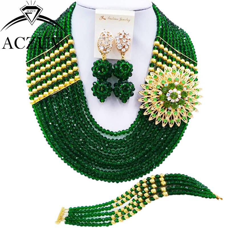 Green Costume Jewellery: Aliexpress.com : Buy ACZUV 10 Rows Dark Green Crystal
