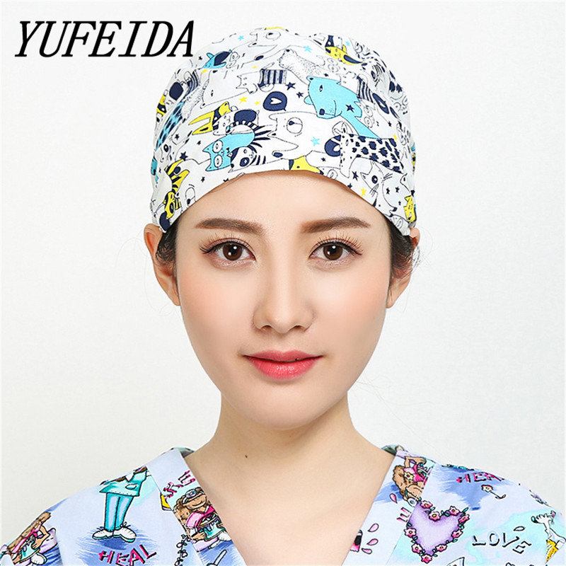 YUFEIDA Surgical Cap Unisex Doctor And Nurse Working-wear Medical Lab Clinic Operation Cap Printing Can Adjustable Caps