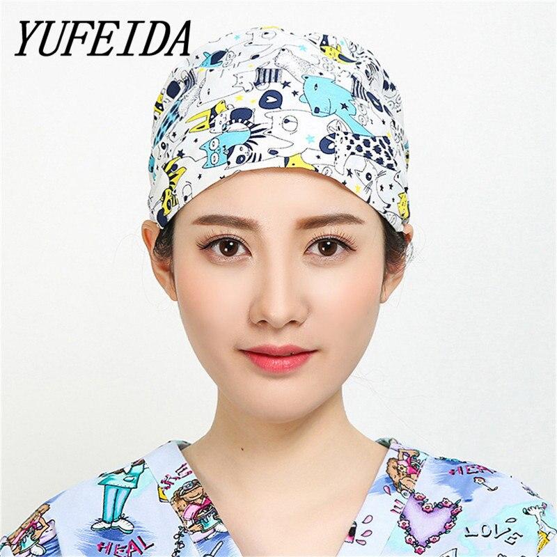 YUFEIDA gorro quirúrgico Unisex médico y enfermera de trabajo desgaste laboratorio médico Clinic operación Cap impresión puede casquillos ajustables