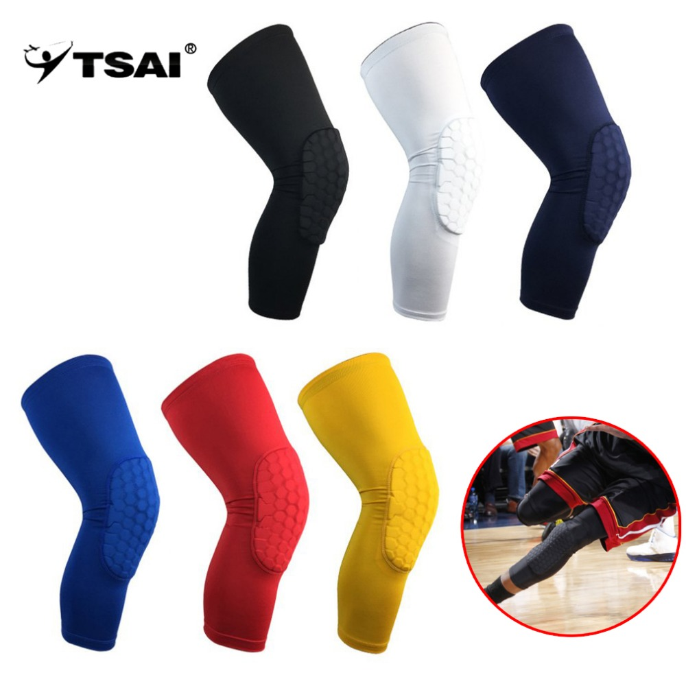 TSAI High Elastic Breathable Long Sleeve Knee Pad Sport Basketball Knee Warm Support Brace Leg Arthritis Injury Gym Drop Ship