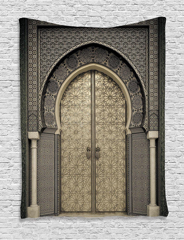 Door Tapestry Beige Decor Aged Gate Moroccan Geometric