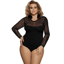 lace up bodysuit floral see through sexy women rompers teddy plus size body long sleeves slim mesh bodysuit 80372