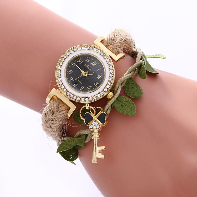 Top sale Women's Bracelet Watches Ladies Casual Leaves Braided Rope Strap Quartz