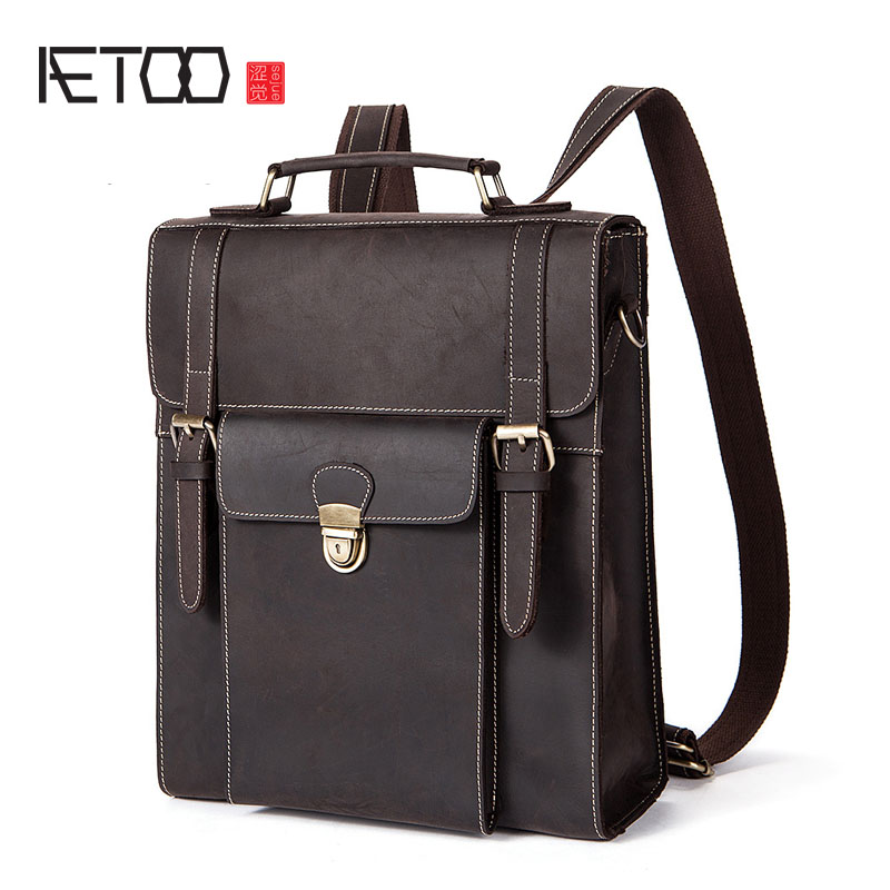 AETOO Autumn and winter new men bag retro mad horse leather shoulder bag multi-functional backpack aetoo the new retro men messenger bag europe and the united states fashion mad horse leather leather men bag men shoulder bag