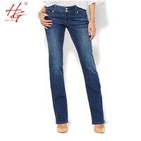 A04 2016 Flare Women Jeans Autumn Bell Bottom Pants Female Deep Blue Denim Pants HG Brand