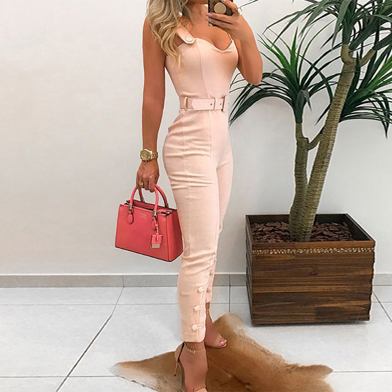 Thin Strap Button Design Women   Jumpsuit   Office Lady Skinny   Jumpsuits   Workwear