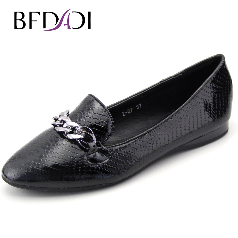 BFDADI New Spring Autumn Women Ballet Flats  Serpentine Flats Shoes Ladies Shoes Flats Decoration Chain Z-27 beyarne rivets decoration brand shoes flats women spring autumn fashion womens flats boat shoes sexy ladies plus size 11