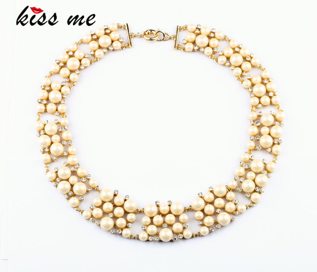 New Styles 2013 Fashion Jewelry Gold Plated Imitation Glass Pearls Fashion Necklace