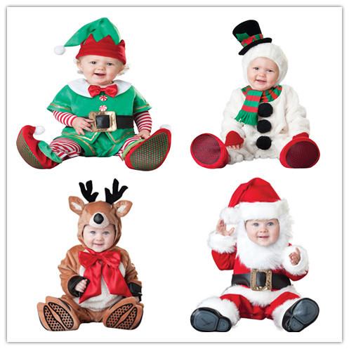 Regalo de navidad 2016 hot bebé mono ropa de Papá Noel niños monos recién nacidos niños niñas mameluco del traje de los niños