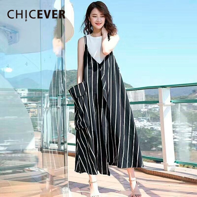 CHICEVER Striped Spaghetti Strap Dress Female V Neck Sleeveless Big Pockets Loose Big Size Summer Dresses For Women 2018 Fashion ...