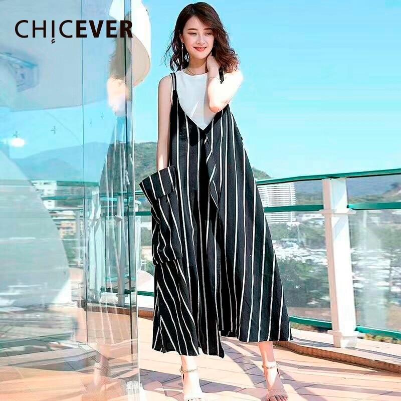 CHICEVER Striped Spaghetti Strap Dress Female V Neck Sleeveless Big Pockets Loose Big Size Summer Dresses For Women 2018 Fashion ...