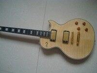 Lp benutzerdefinierte geflammt top maple hohe qualität bernstein finish natur holz farbe gitarre zugriff auf alle joint neck block inlay freies verschiffen