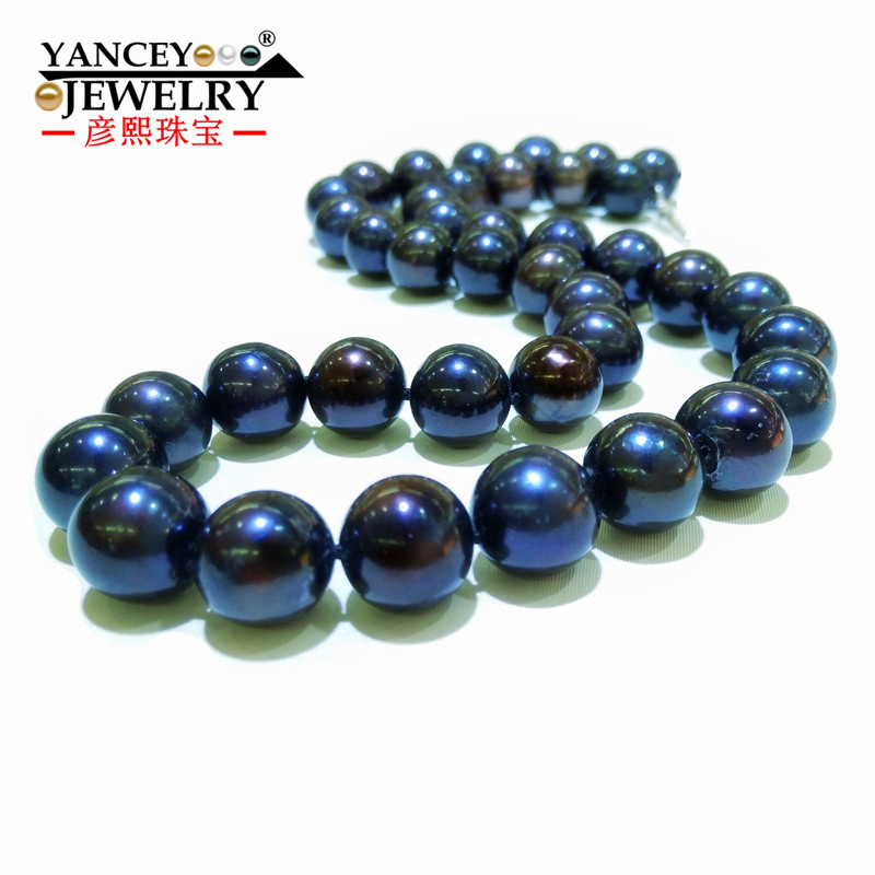 Naturel réel grand Blace collier de perles pour femmes/fille 9-10 MM & 11-12 MM offres spéciales Simple et élégant Fine naturelle perle noire