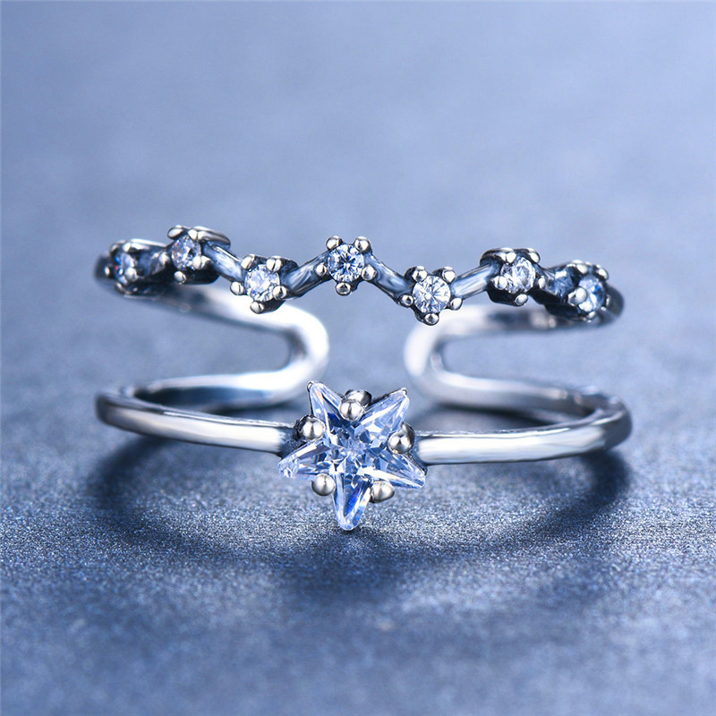 Cute Female Small Star Ring Real 925 Sterling Silver Open Adjustable Ring Promise Wedding Engagement Rings For Women