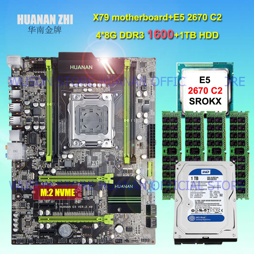 HUANAN ZHI X79 motherboard with SSD M.2 slot CPU Intel Xeon E5 2670 C2 SR0KX 4 channels RAM 32G(4*8G) 1600 RECC SATA3 1TB HDD brand new promotional huanan zhi deluxe x79 motherboard cpu intel xeon e5 2620 srokw ram 32g 4 8g ddr3 1600 recc all tested
