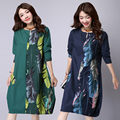 Plus Size Patchwork Leaves Print Long Sleeve Dress Fashion Vintage 2016 cottonlinen Loose casual Women Dresses Party Femme Dress