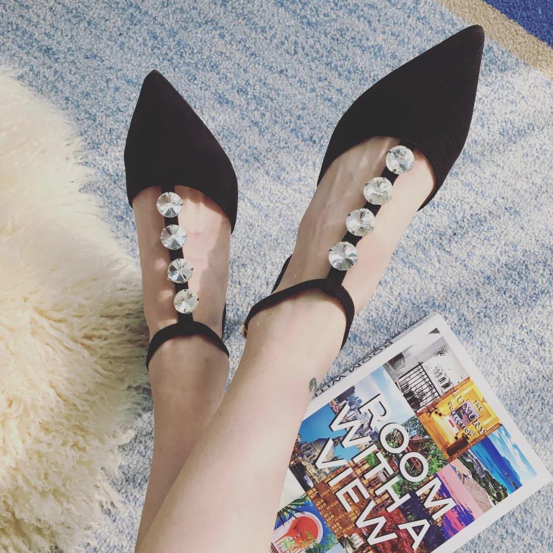 ФОТО 2017 New Arrival Women's Fashion T-strap Pumps Rhinestone Pointed Toe High Heel Shoes 9cm
