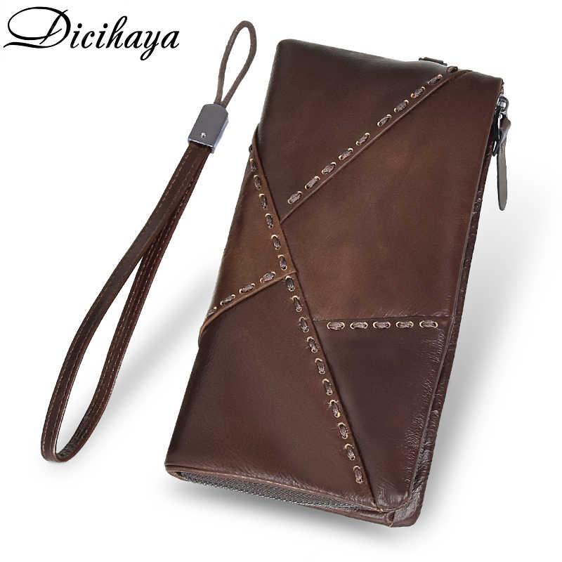DICIHAYA darmowe grawerowanie nazwa mężczyźni portfele portfel ze skóry naturalnej długie etui na karty mężczyzna torebka wysokiej jakości zamek błyskawiczny portfel o dużej pojemności