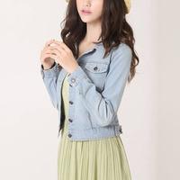Charming Women Spring Autumn Long Sleeve Vintage Short Slim Jean Jacket Loose Denim Coat
