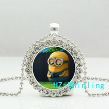 New Despicable Me Crystal Necklace Cute Minions Pendant Glass Anime Jewelry For Children Silver Ball Chain Pendants Neckalces