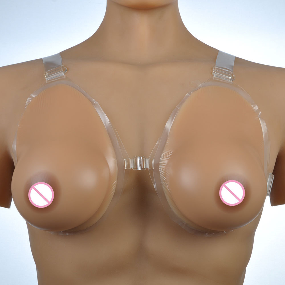 D cup size crossdresser breast forms  sagging silicone boobs 1000 g/pair with bra shoulder straps nude skin & brown two colors 1 pair gg cup nude skin tone 2800g silicone breast form with straps