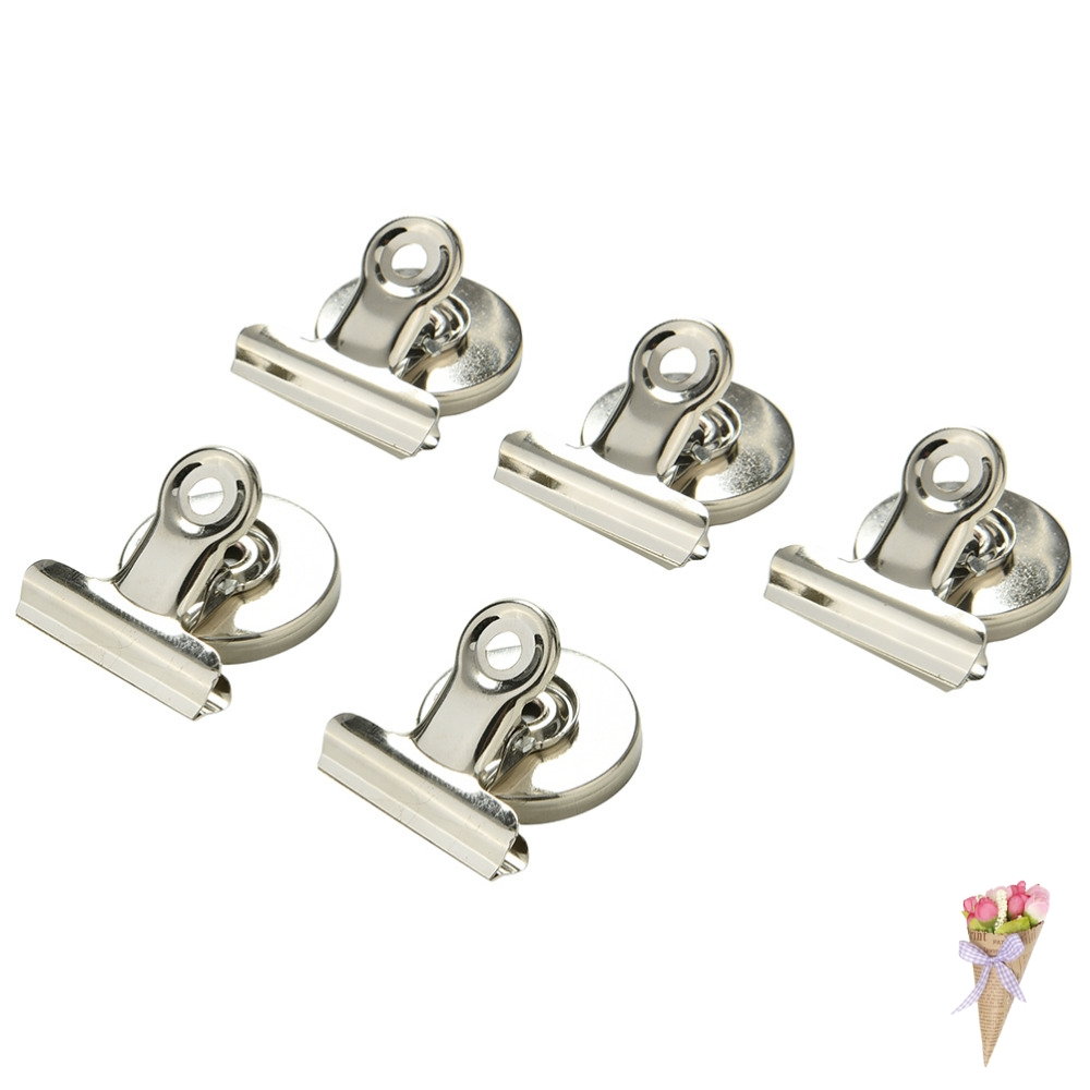 Magnetic Clip Magnet Memo Note Message Holder Silver Metal Clamp Multifunctional Paper White Board Creative 5pcs