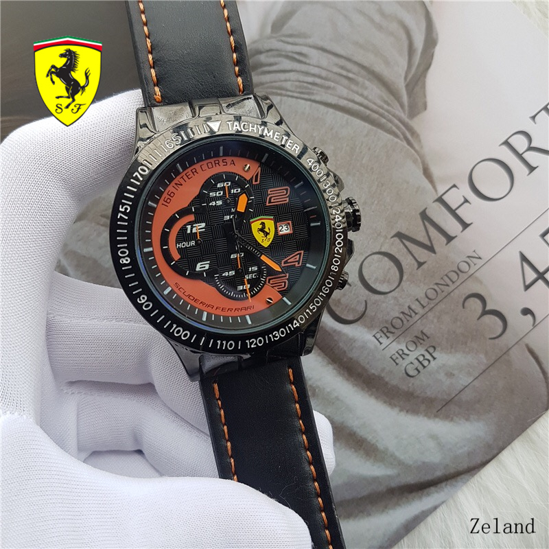 SCUDERIA FERRARI Quartz Wristwatches Casual Leather Watch Band Wrist Watch Complete Calendar Watches High-Quality R5632807 high quality cartoon pencil hand colored number funny watch leather band fashion womage pencil pointer women quartz wrist watch