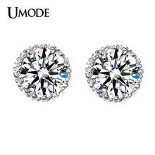 UMODE Brand Top Quality 8mm 2 Carat AAA+ CZ Stone Post Stud Earrings For Women Brincos Party Jewelry Fashion 2016 Newest AUE0013