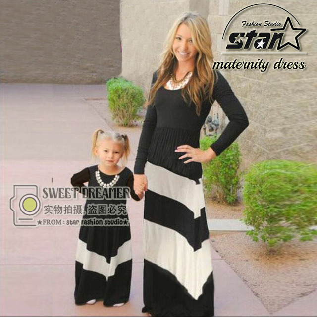 Family Clothe Mother and Daughter Long Sleeve Fashion Girls Outfits  Patchwork Stripe Fall Dress Family Matching 6d7f2f6ccb56