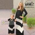 Vestir Mãe e Filha família Moda Manga Longa Meninas Roupas Patchwork Tarja Vestido Queda Família Roupas Combinando