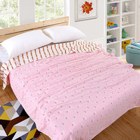 2018 Summer Pink Blanket 100% Cotton Towels Yarn Cloth Throw Blanket for Bed Sofa Airplane Soft Air Conditioning Terry Blanket