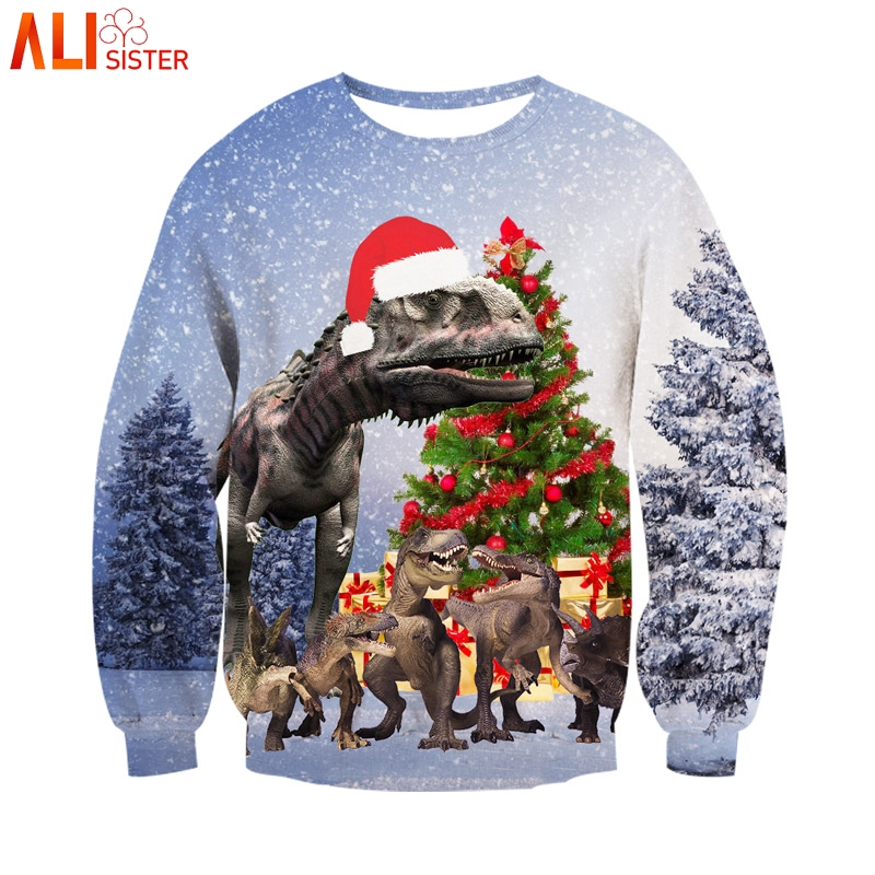 Alisister Christmas Dinosaur 3d Hoodies Sweatshirt Men Women Autumn Winter Pullover Merry Christmas Gifts Tracksuit Harajuku