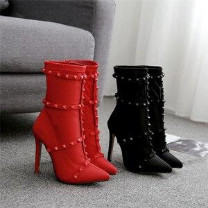 Image 5 - Năm 2020 Thời Trang Cao Cấp Nữ 11.5 Cm Giày Cao Gót Tôn Sùng Đinh Tán Lụa Mút Giày Gót Dây Cổ Chân Giày Scarpins Đính Đỏ Mùa Xuân giày
