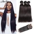 10A Peruvian Straight With Closure 100% Virgin Human Hair Weaves 3 Bundles Peruvian Straight Hair With Closure 4x4 Lace Closure
