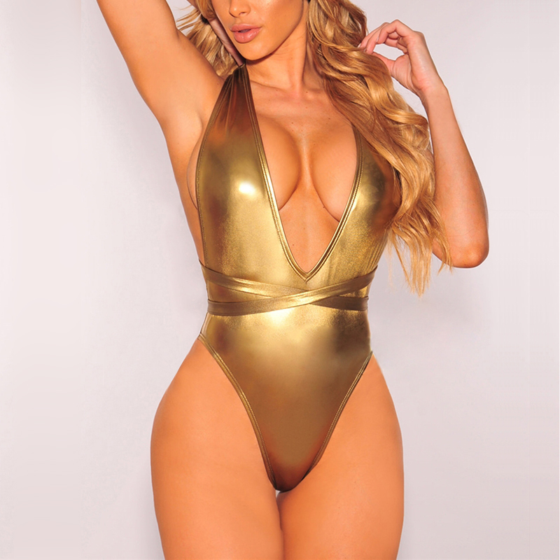 Gold Yelow One Piece Swimsuit Women Swimwear 2018 High Cut Out Monokini Sexy Bandage Backless Bathing Suit Beach Wear Swimsuit women solid one piece swimsuit halter backless bandage bodysuit monokini deep v neck sexy high waist vintage beach wear page 4