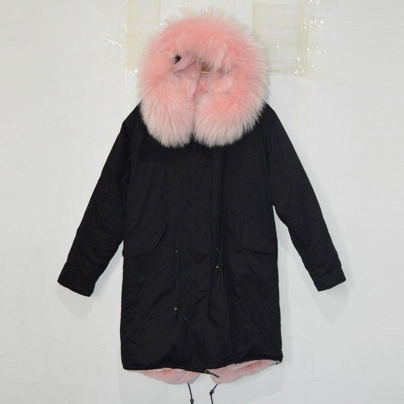 Free shipping Light pink Big raccoon fur hood black shell color long winter coat