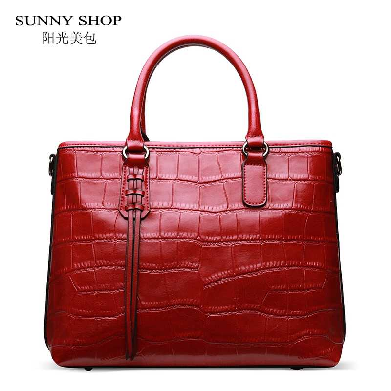 538199e0fef8 SUNNY SHOP European American Style Alligator Pattern Women Bag High Quality  Genuine Leather Handbags Messenger Bag