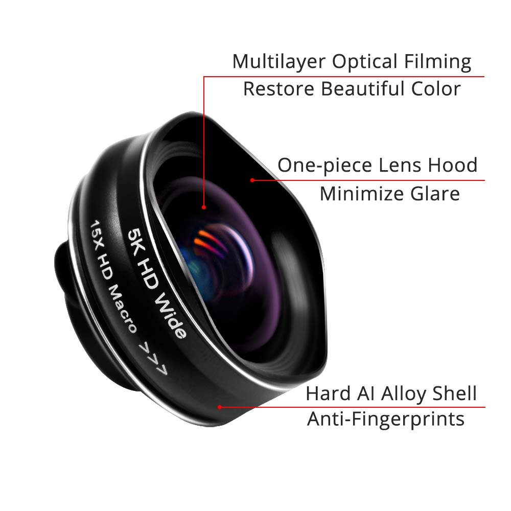 Image 2 - Flower Bud 5K HD Phone Lens Wide Angle Macro Lens No Distortion 0.45X Professional 2 in 1 Camera for Smartphone iPhone Mobile-in Mobile Phone Lens from Cellphones & Telecommunications