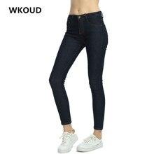 WKOUD Women Winter Gold Fleece Inside Jeans 2017 Fashion Warm Denim Pants Solid Thick Pencil Pant Plus Size Trousers P8029
