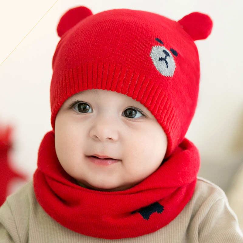 Autumn Winter Toddler Infant Knitted Baby Hat Adorable Bear Hat Baby Scarf & Cap Suit Photo Props 2017 New Children Winter Hat