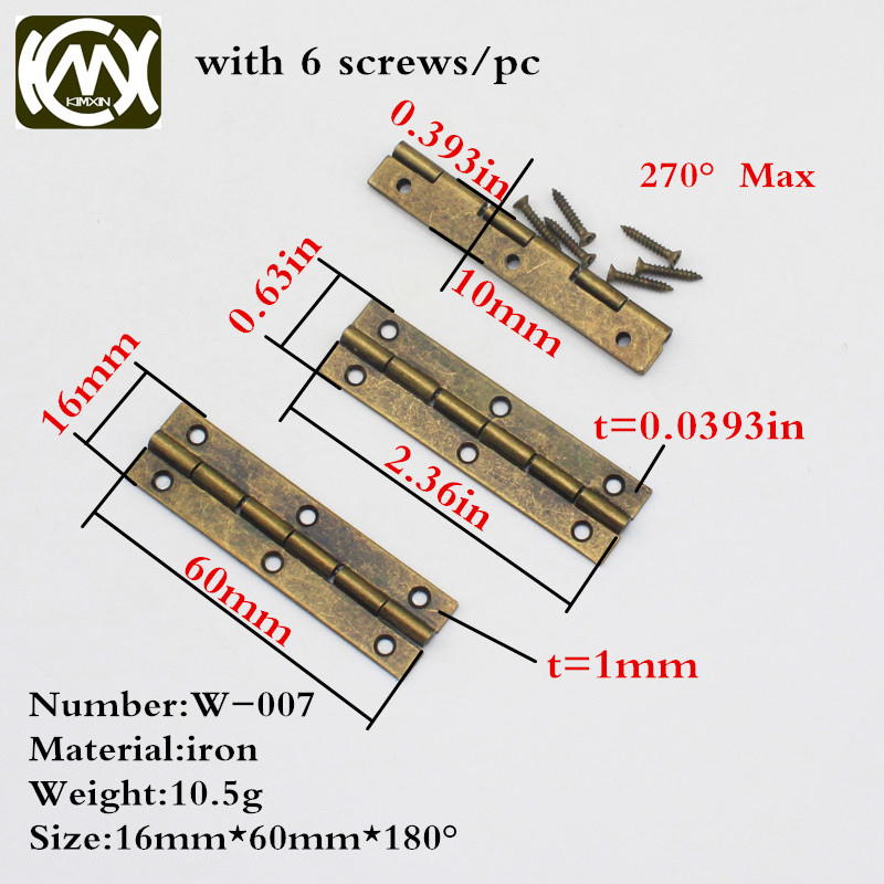16*60mm 20pc Furniture Hinge Cabinet Drawer Door Butt Hinge Antique Bronze Decorative Hinges for Jewelry Box Furniture Hardware lhx p0fh04 1 39 57mm bronze hinge for jewelry box cabinet furniture diy family hardware