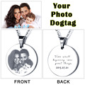 Personalized Family Gift Photo Tag Custom Engraved Picture Necklace Round Stainless Steal Pendant (JewelOra NE101324)