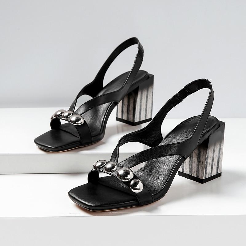 2019 ใหม่มาถึงฤดูร้อนสุภาพสตรีรองเท้าโลหะ elegant หนาส้นรองเท้าแตะรองเท้าส้นสูงรองเท้าหนังวัว-ใน รองเท้าส้นสูง จาก รองเท้า บน   3
