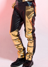 New style fashion nightclub bar male PU leather performance costumes patchwork trousers personalized dj dj pants