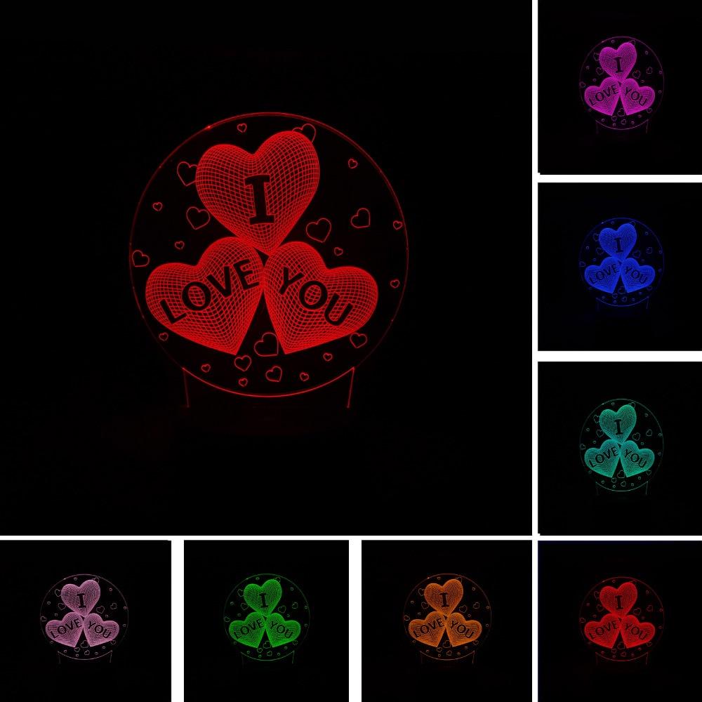 Romantic 2018 3D LED LOVE Heart Princess Unicorn Ferris Wheel Rose RGB Night Light Christmas Valentines Day Weeding Anniversary