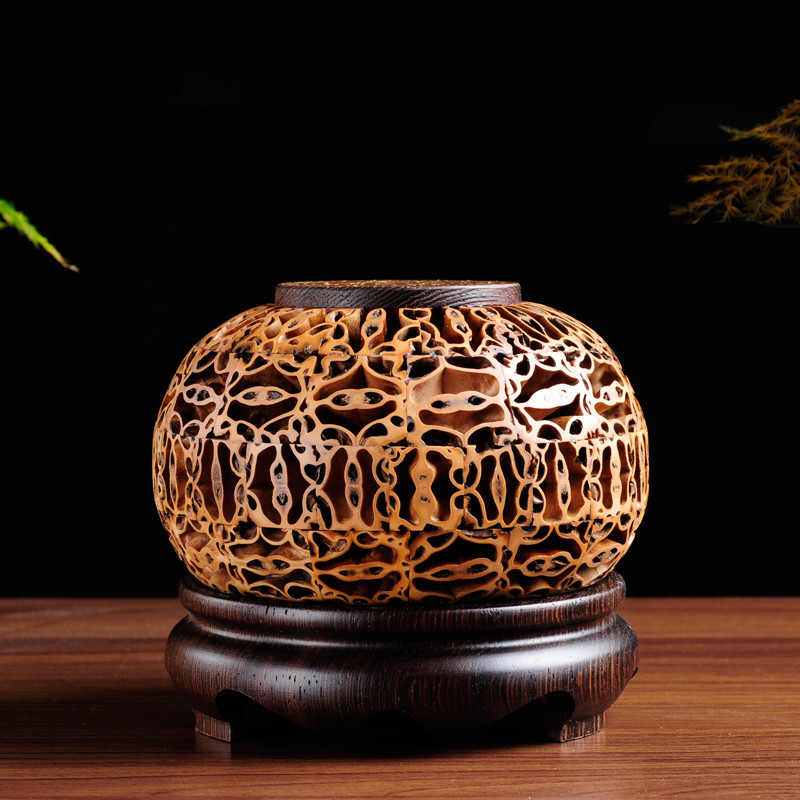PINNY Wooden Incense Burner Walnut Chicken Wing Censer Garden Wind Creative Wood Burner Furnace Buddhist Temple