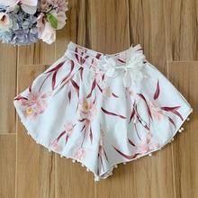 Baogarret 2019 New High-end Summer Designer Sexy Shorts Women Print Balls High Waist White With Flower Sashes
