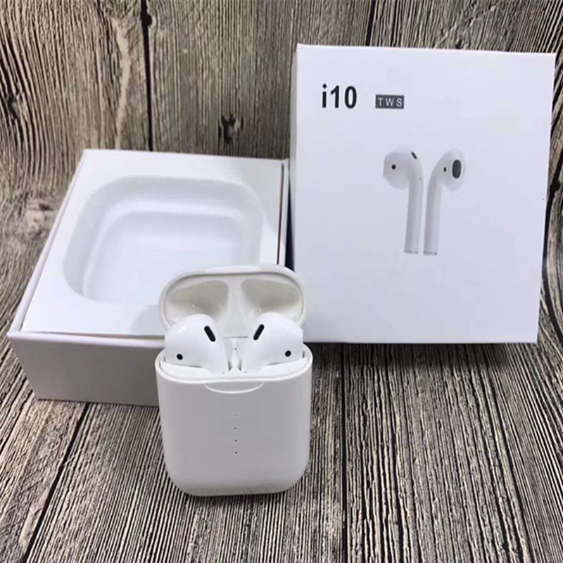 New i10 TWS Double Mini Airpod Wireless Bluetooth Earphone Earbuds With  Charging Box Mic For Iphone7,8,X Samsung Android Xiaomi